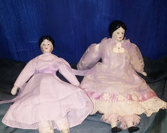 Pair of Vintage China Head Cloth Dolls in Purple Dresses 1980s Small Doll Decor 7.5 inches