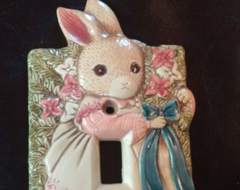 Ceramic Lightswitch Cover Switch Plate 1990s Rabbit Home Decor Takahashi Single Switch Cover Bunny Pattern 1990s