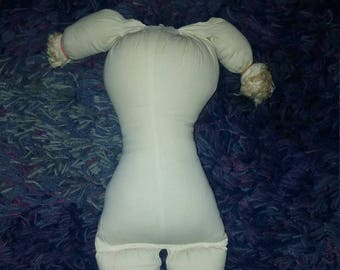 Vintage Boudoir Doll Stuffed Torso Cloth Body with Arms Legs 19 Inches 1980s  Soft Doll Craft Supply