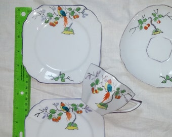 1930s Royal Windsor Tea Setting Plates Teacup Saucer Deco Floral Bird Pattern Antique English Fine China Table Wares 1930s.