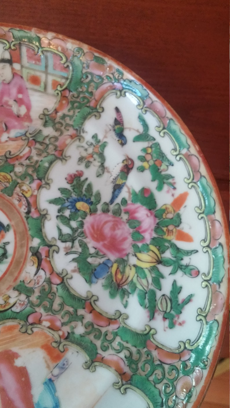 Antique Chinese Hand Painted Plate Mid1800s Rose Mandarin Asian Porcelain Victorian Display Plate 8.5 inch some damage