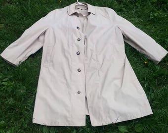 1960s Vintage Rain Coat Large Size Treemcoat in Beige Retro Unisex Outdoor Flex Temp Sears Roebuck USA 1960s Fashion Coat 45 inch Long Coat