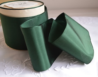 Yard of 1930s Swiss rayon ribbon bottle green, 2 widths available