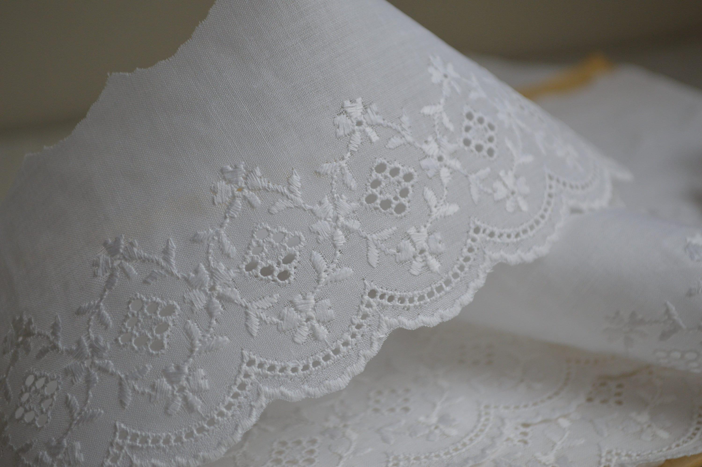 Vintage pouces coton Broderie Anglaise garniture non utilisé, à 3 pouces Vintage de large, carte d'environ 9 yards af5043