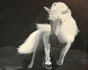 Stallion in the Shadows - One of a kind original art work