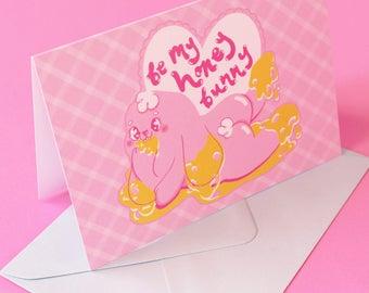 Be My Honey Bunny Valentines day greetings card / prints, kawaii, original art!