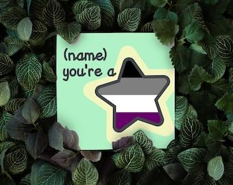 You're A Star Card, Custom Pride Flag Card, Thank You Card, Encouragment Card, Pride Flag Star Card, Pride Flag Thank you card,