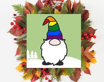 Gnome Christmas Card, Custom LGBT Pride Flag Christmas Card, LGBTQ Christmas Card, Pride Christmas Card, LGBTQ Christmas Gnome