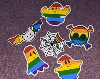 Halloween x Pride Sticker Pack, Cute Halloween Stickers, Halloween Pride Flag Stickers, Sticker Pack