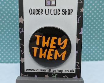 Neon Pronoun Badges, Pronoun Badges, LGBTQ Pronouns Badges, Neon Badges, Pronouns