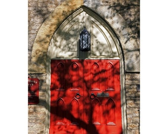 Old Church With Bright Red Doors