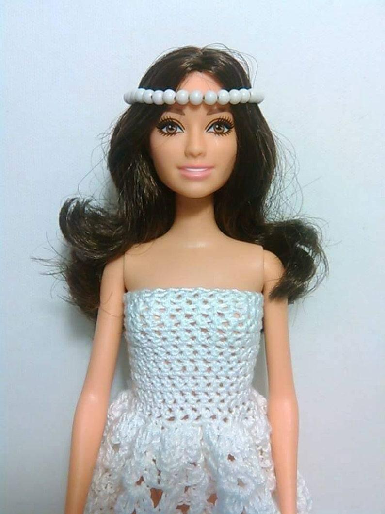 Abito Da Sposa Barbie Doll Alluncinetto Con Perline Velo Etsy