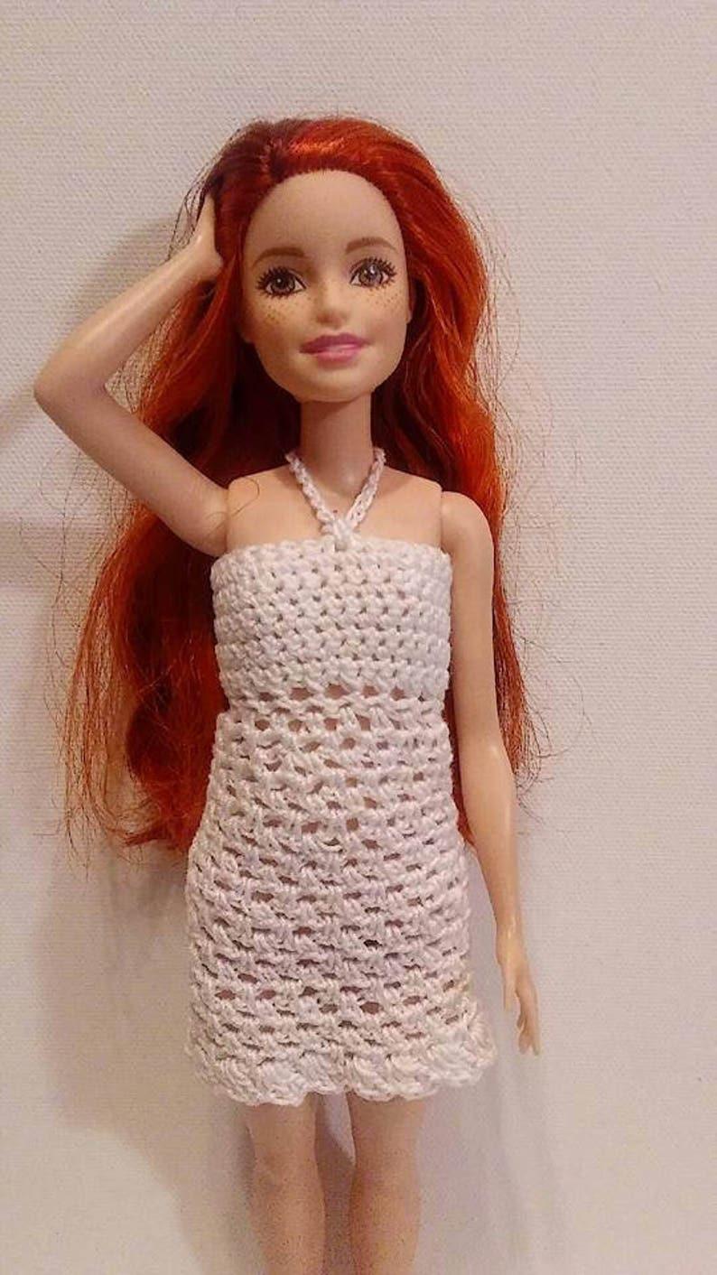 Barbie Abito Bianco Alluncinetto Vestiti Barbie Doll Etsy