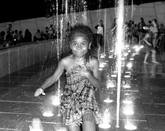 Girl In Fountain - Black & White Photography, Print