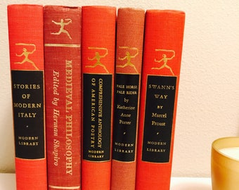Red Modern Library Book Set