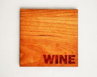 Wine Coasters - Modern Drinkware - Cherry - Wood Coasters - Set of 4 Wine Coasters - Housewarming - Hostess Gift -Home Decor - Wine Lovers