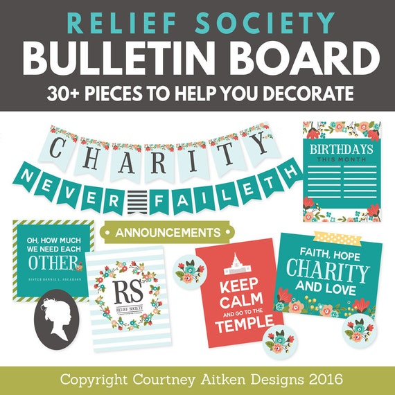lds relief society bulletin board printables etsy