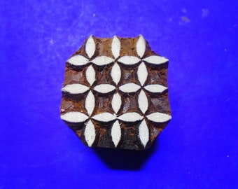Small Square geometric Wood Stamp Hand Carved Fabric Textile Indian Print Block SM166