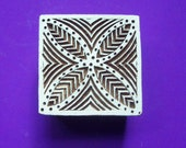 Abstract Leaf Hand Carved Square Wood Fabric Textile Stamp Indian Print Block (SQ16)