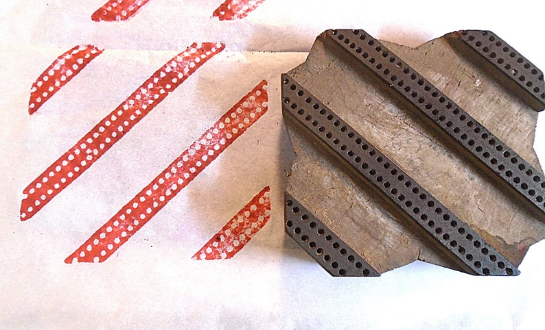 Diagonal Lines Antique Vintage Large Wood Textile Clay pottery Stamp Hand Carved Old Indian Print Block BOX 2