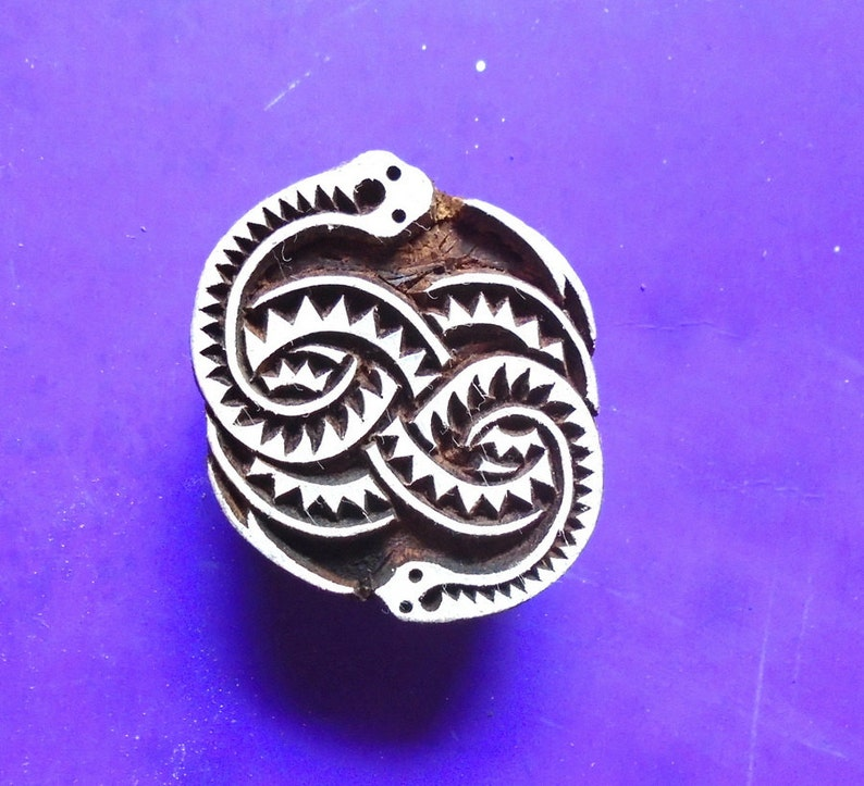 Snake Serpent Celtic Knot Hand Carved Wood Stamp Animal Indian image 0
