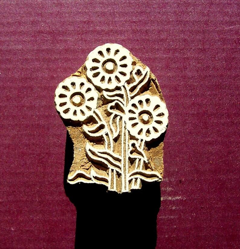 FL8 Hand Carved Floral Wood Stamp Indian Print Block