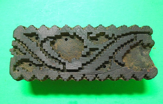 Antique Vintage Large Wood Geometric Texile Clay Border Stamp Hand Carved Old Indian Print Block V47