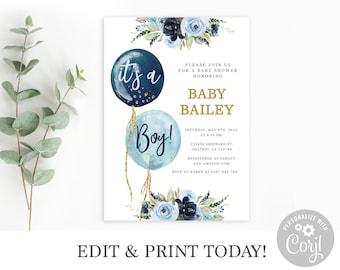 Baby Shower Invitation Boy, Editable Invitation Template, Navy Blue Balloon, it's a boy Printable Invite, Instant Download Corjl invite