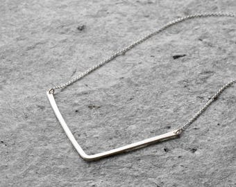 V necklace, chevron necklace, Sterling silver minimalist necklace, geometric necklace, simple necklace