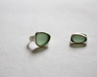 Sea glass ring, Sterling silver sea glass ring, pebble ring, one of a kind ring, statement ring, modern ring, organic ring