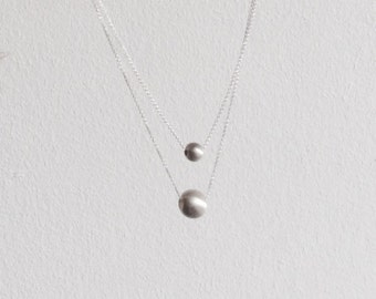 Double asymmetric necklace, geometric necklace, dainty necklace, contemporary necklace, modern necklace, Sterling silver necklace