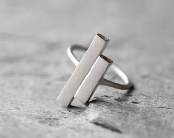 Two bars minimalist ring/ Sterling silver modern ring/ Asymmetrical bars ring/ Geometric ring/ Statement ring/ Gift for her