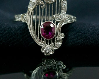RESERVED FOR JOY~ Spectacular Edwardian Diamond And Ruby, Platinum Filigree Ring.  Antique Ruby Engagement Ring.