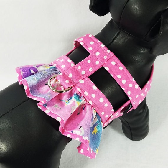 Small Dog Harness Magic Unicorn Fancy Ruffle Easy-On Harness with Applique from UDogU Boutique 9 Sizes