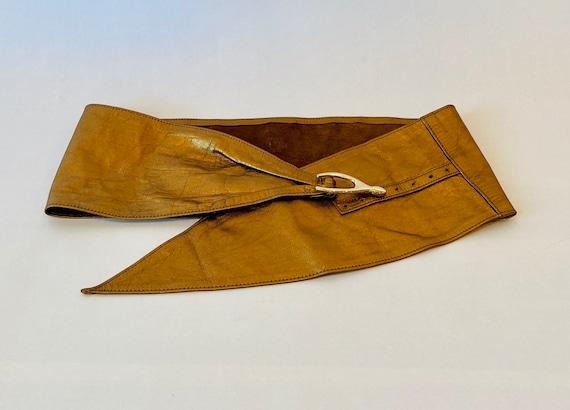 80s Wide Bronze Metallic Soft Leather Hip Belt - image 7