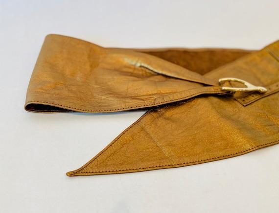 80s Wide Bronze Metallic Soft Leather Hip Belt - image 2