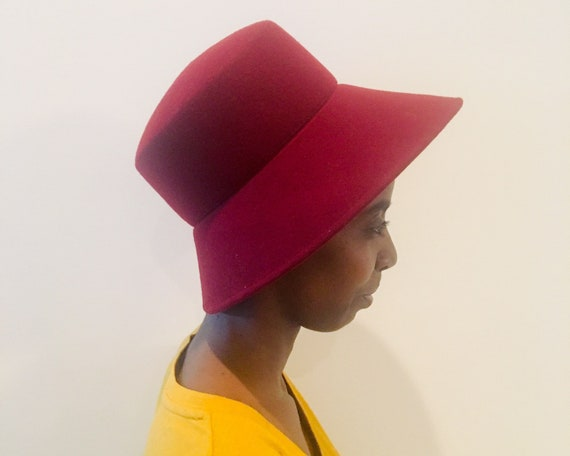 70s Wide Brim Hat / Burgundy Hat / Vintage Wool Ha