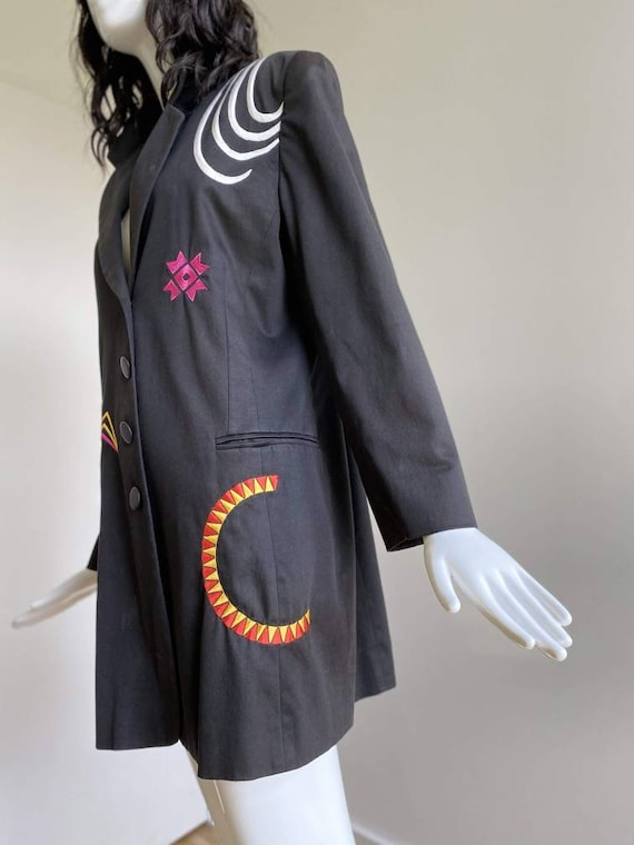 90s Oversized Black Embroidered Blazer / Pop Art … - image 6