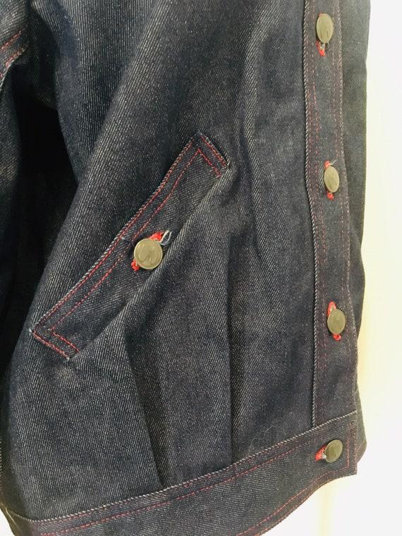 Halston denim bomber jacket / Vintage Jean Jacket… - image 4