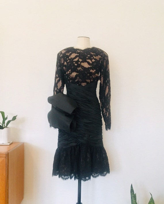 Rubin Panis Vintage Black Lace Formal Dress / 80s