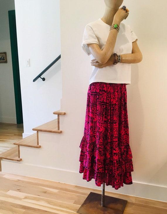 Vintage Ruffle Midi / Midi Skirt /  Vintage skirt