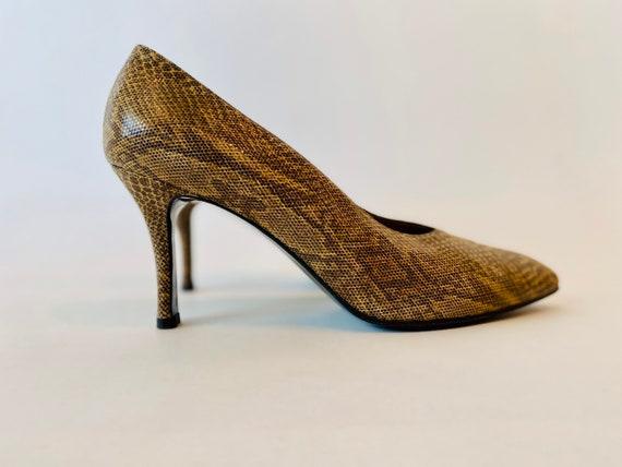 80s YSL Python Print Sexy High Heels Size 8