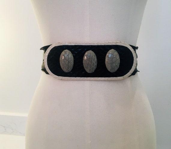 Vintage Python Belt / Disco Belt /Glam Belt / 80s