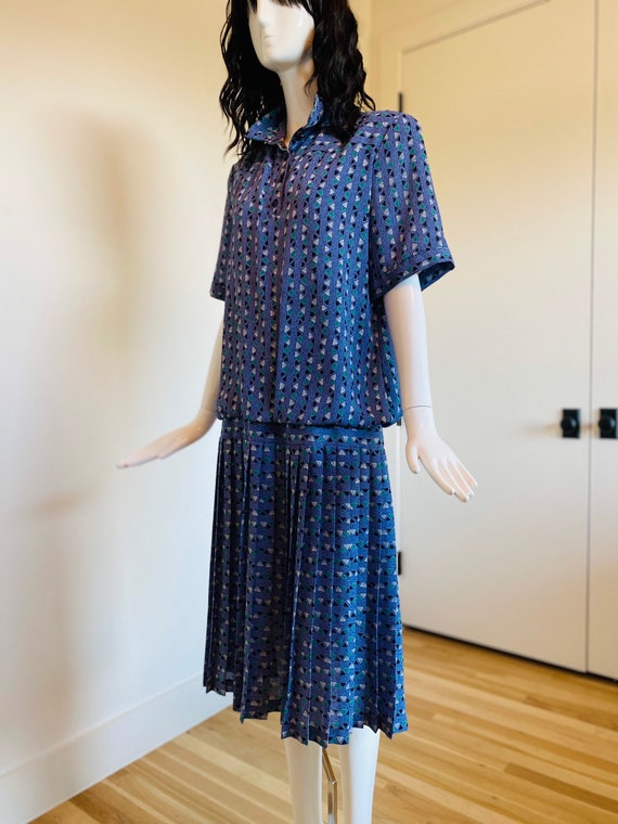 Vintage 80s Graphic Print Rare Diane Von Furstenberg  DVF Drop Waist Dress 20s throwback Style