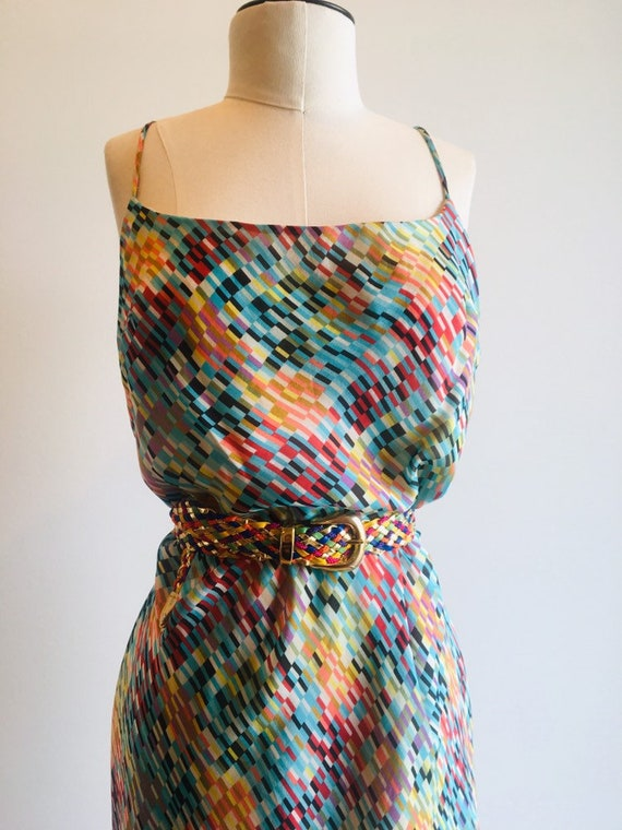 90s Silk Slip Dress / Vintage Slip Dress  / Printe