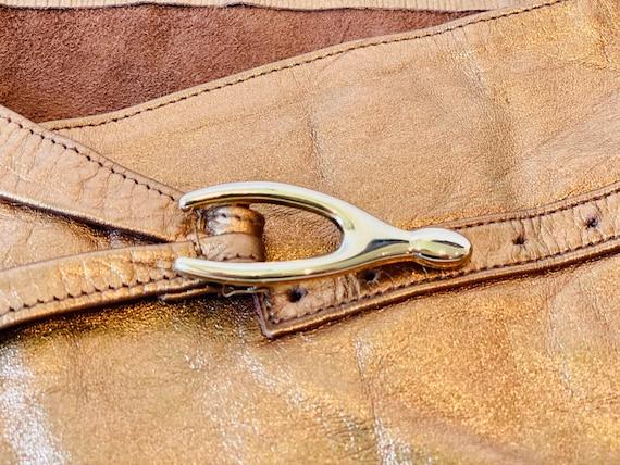 80s Wide Bronze Metallic Soft Leather Hip Belt - image 4