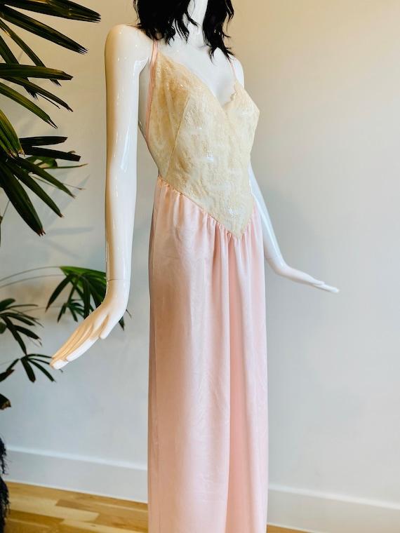 80s Prairie Lace Pale Pink Long Slip