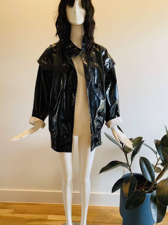 80s Cappagallo Black Oversized Vinyl Rain Jacket /