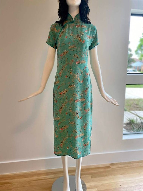 60s Teal Green Graphic Chinoiserie Midi Dress / RA