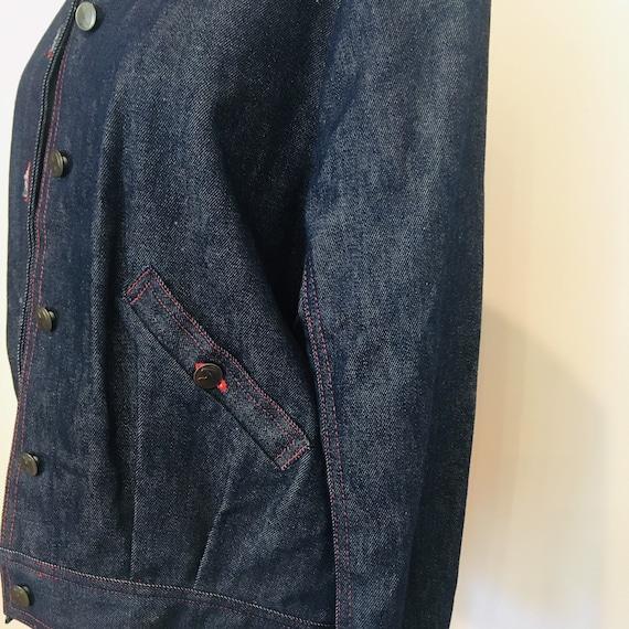 Halston denim bomber jacket / Vintage Jean Jacket… - image 7